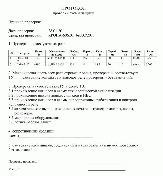 Сводный протокол проверки РЗА стендом Крона-606.01