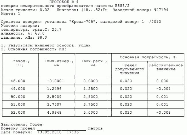 """Протокол поверки преобразователя частоты Е858 установкой для поверки измерительных преобразователей """"КРОНА–705"""""""